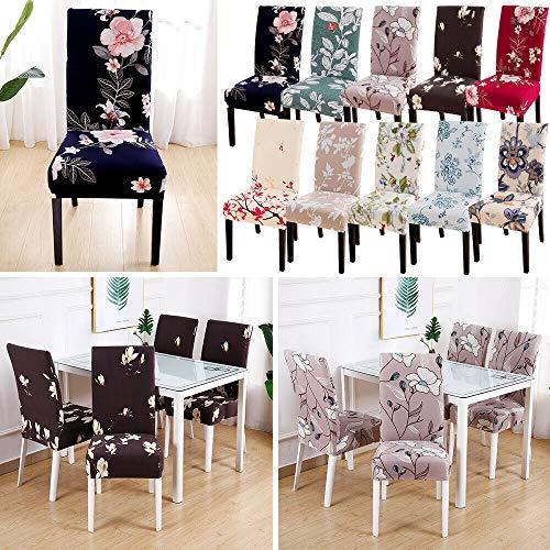 JDV Fundas para sillas con Estampado Floral elástico elástico para Restaurante Fundas para Asientos de Comedor Decoración para Fiestas(3)