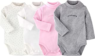 Infant Baby Boys Girls Long Sleeves Onesies Cotton Turtle-Neck Bodysuit Fall Winter Cloths Outfit