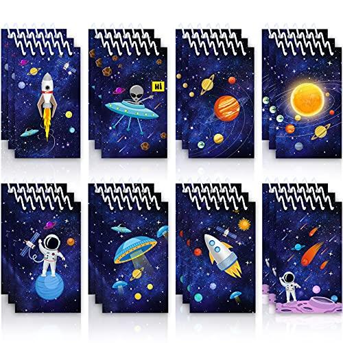 Outus 24 Stücke Weltraum Galaxis Mini Notizblöcke, Wissenschaft Astronaut Rakete Memo Spirale Winzige Notizbücher Lehrer Klassenzimmer Belohnung Versorgung für Jungen Mädchen Sonnensystem Planet