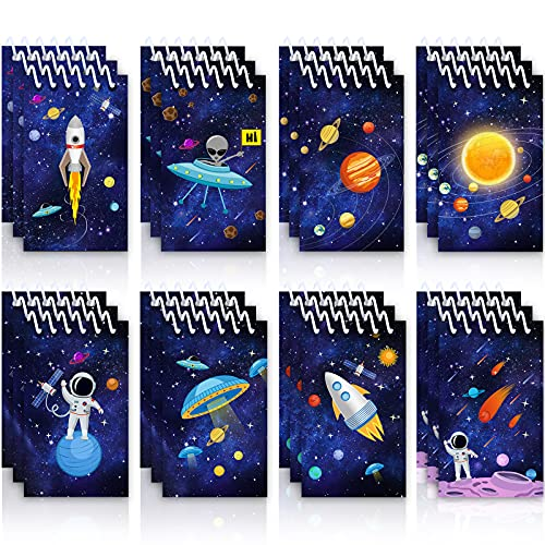 24 Mini Blocs de Notas de Galaxia de Espacio Exterior, Mini Cuadernos de Espiral de Cohete Astronauta Ciencia Memo de Recompensa de Maestro Salón de Clases para Niños Cumpleaños Planeta