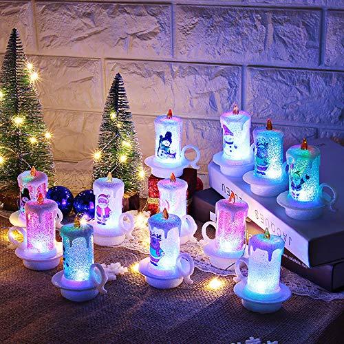 12 piezas de Navidad Decoración de la Noche de la Luz de la Vela Electrónica de la Vela de Muñeco