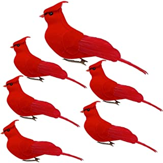 BANBERRY DESIGNS Cardinal Clip On Christmas Tree Ornament Bird Decorations - Red Velvet & Feathers - Set of 6 Red Birds Centerpieces -Crafts DIY -Holiday Décor