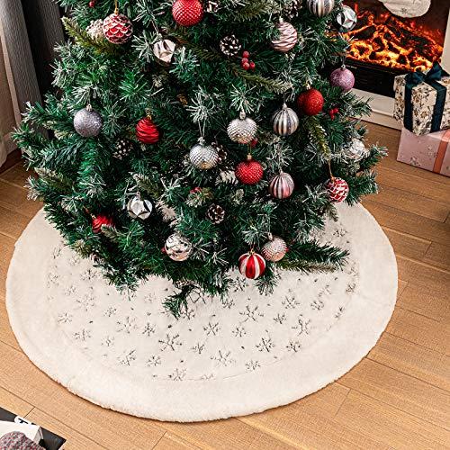 N /A Henrey Tech Weihnachtsbaum Rock Weißer Plüsch 122 cm Rund Weihnachtsbaumdecke Schneeflocken Mit Pailletten für Frohe Weihnachten Party Christbaumschmuck