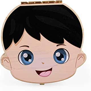 Anbaby Cute Personality Baby Teeth Box Save Wooden Boxes Deciduous Souvenir Box (Colorful boy)