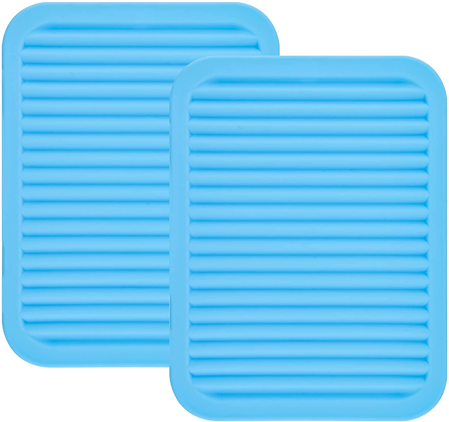 Smithcraft Lucky Plus Silicone Trivet Mat for Dish Hot Pads for Counter Top,Pan and Pot Heat Resistant Workshop, 2 Pack,Size:9x12 Inches, Color: Blue,Shape:Rectangular
