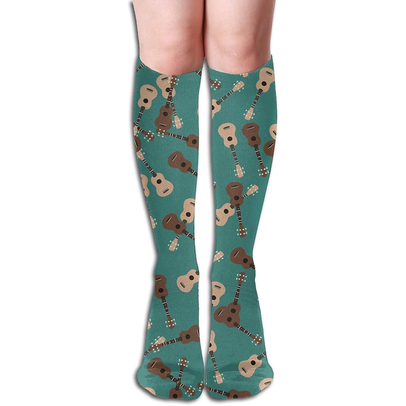Ukulele Musical Green Pattern Thin Crew Socks Tube Socks Novelty Dress Socks For Womens