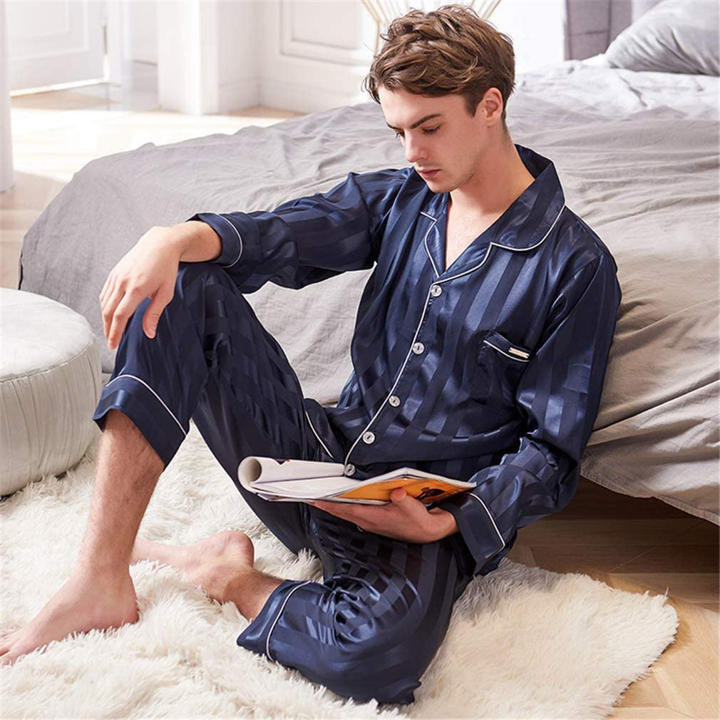 Nunubee Faux Silk Man's Pajamas Set Embossed Stripes Long Sleeve Sleepwear Loungewear with Top & Pants/Bottoms Dark Blue - XXXL