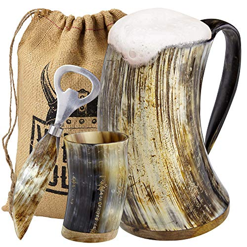 Viking Culture Ox Horn Mug, Shot Glass, and Bottle Opener (3 Pc. Set) Authentic 16-oz. Ale, Mead, and Beer Tankard | Vintage Stein with Handle | Natural Finish | Without Design