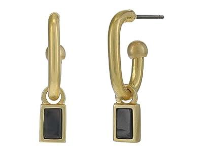 Madewell Black Onyx Helio Charm Hoop Earrings