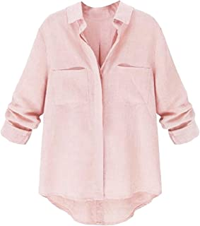 Howme-Women Loose Fit Solid Color Cotton Tops T Shirts Blouse