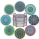 8 sottobicchieri in ceramica con motivo mandala floreale, con retro in sughero antiscivolo...