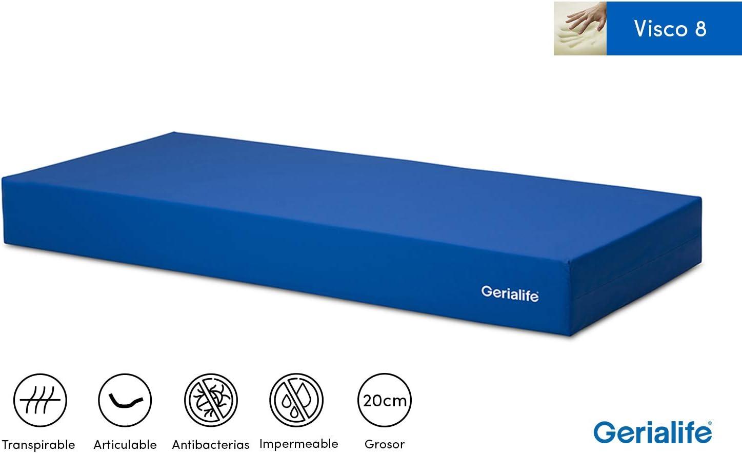 GERIALIFE Colchón Geriátrico Hospitalario Articulado   8 cm de Viscoelástica   Funda Sanitaria Impermeable (80x190)