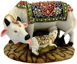 Panshul Fab & Tex Resine Cow and Calf Statue, Standard, Multicolour