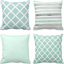 Emvency Set of 4 Throw Pillow Covers Mint Moroccan Green Quatrefoil Gray Watercolour..