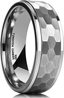 Hammer 8mm Silver Tungsten Ring Hammer Comfort Fit Faceted Men Wedding Band Polished Step Edge