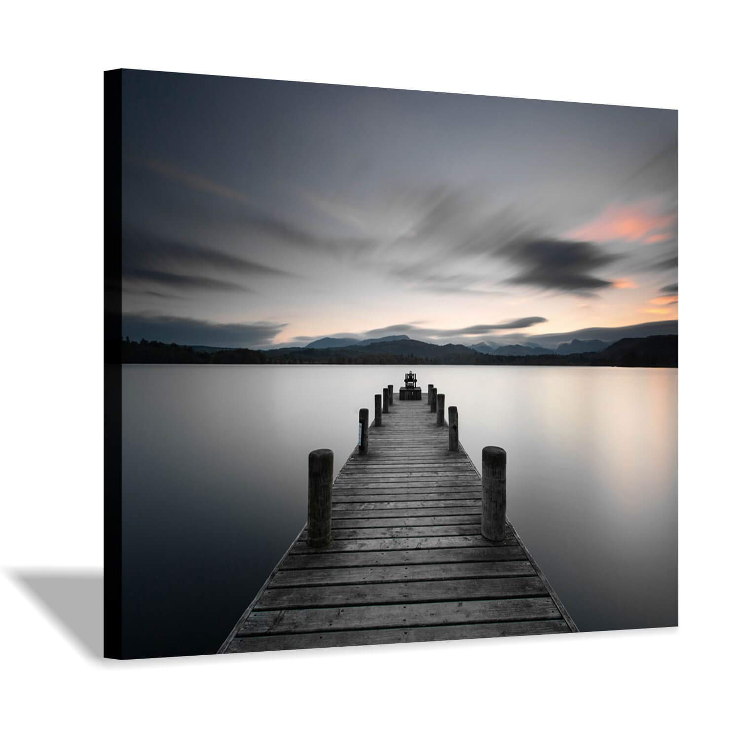 Lake Pier Canvas Wall Art: Vintage Wooden Dock Artwork Painting for Living Room (24'' x 18'' x 1 Panel)
