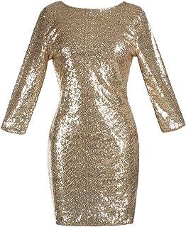 BYWX La Mujer es Nuevo Brillo liquido Clubwear Bodycon Mini Vestido de Lentejuelas de Bodycon Club