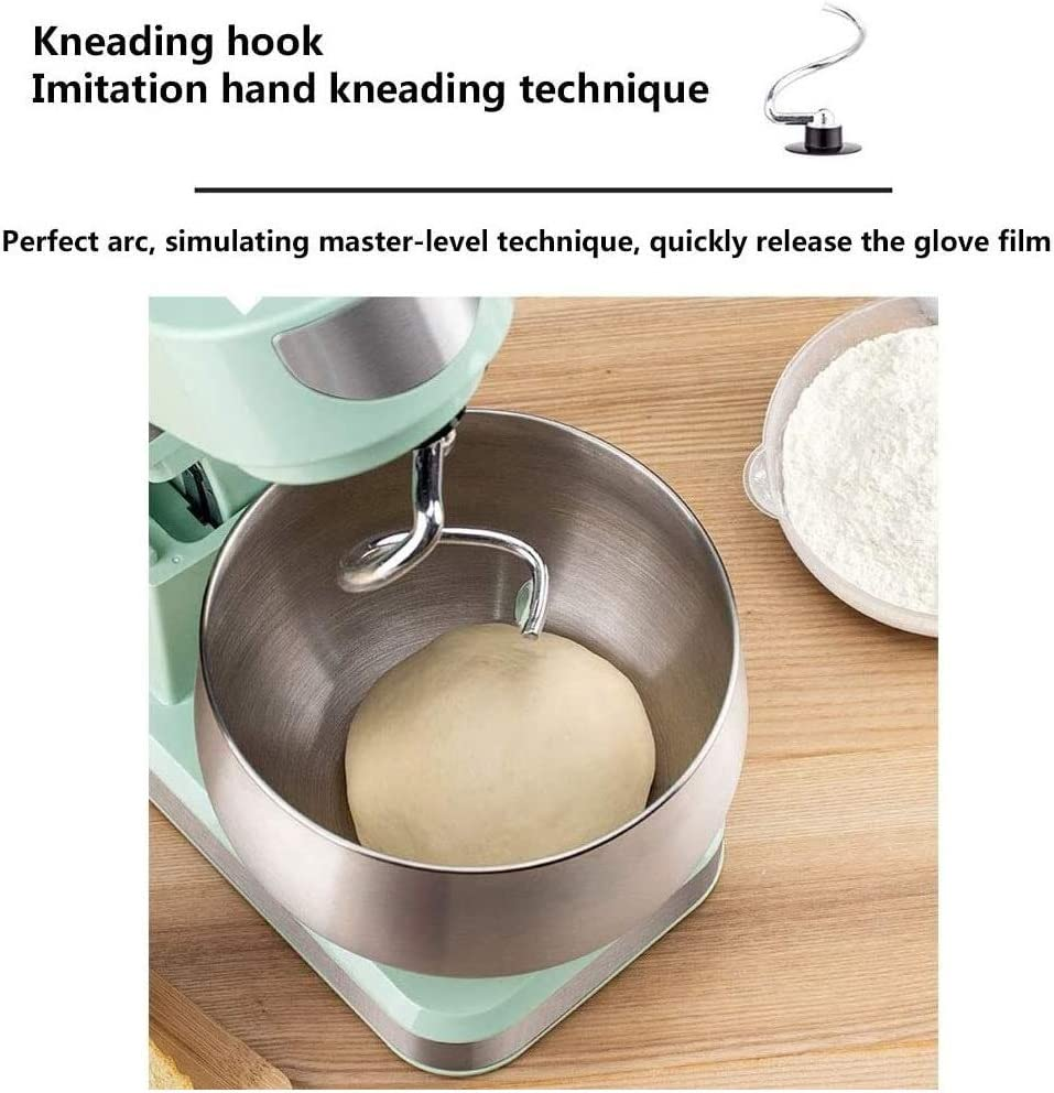 6 Speed Stand Mixer 5,5 L roestvrij staal Mengkom 1200W met deeghaak for Kitchen Baking Cake Mini Egg Cream Eten Beater (Color : Black) Black