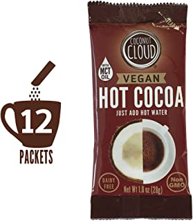 Coconut Cloud: Vegan Instant Hot Chocolate Mix, Dairy Free | Delicious, Natural, Coconut Powdered Milk + MCT OIL | Single Serve Packets, Just add Water (Perfect for on the Go), 12 Gourmet Cocoa Sticks
