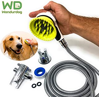 Wondurdog Quality at Home Dog Wash Kit | Water Sprayer Brush & Rubber Shield | 8 ft Flexible Metal Hose, Shower Diverter, Suction Cup Holder | Shield Water from Dogs Ears, Eyes and Yourself!