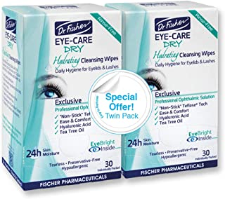 Dr. Fischer Eye Care Dry - Complementary aid for dry eye syndrome. Daily hydrating eyelid wipes to clean, soften & moistur...
