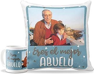 Getsingular Pack Taza + Cojín Papá Personalizados con tu Foto para el Día del Padre | Tazas de cerámica Cojín 40x40 cm con Relleno Incluido | Diseño Eres el Mejor Abuelo