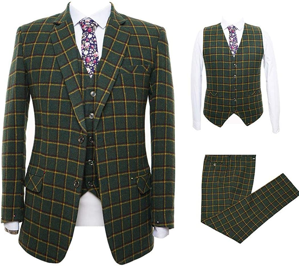 Mens Plaid Suit Olive Green Wool Blend 3 Piece Suit Tuxedo Party Dinner Notch Lapel Suit Blazer