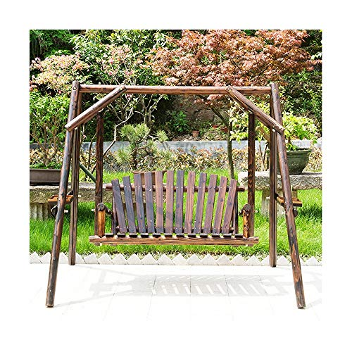DYYD Best Choice Products Deluxe Wooden Arc Frame Hammock 3 Person Outdoor Patio Swing Chair, Porch Glider Swing Chair for Patio, Garden, Poolside, Balcony