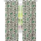 YUAZHOQI - Cortina opaca aislante térmico con símbolos de sistemas monetarios de dólar criptografía moneda Bitcoin signo, 132 x 213 cm, para puerta de cristal, color verde lima y verde