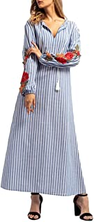 Women Autumn Middle East Dress Striped Embroidered Loose V Neck Straight Long Dress