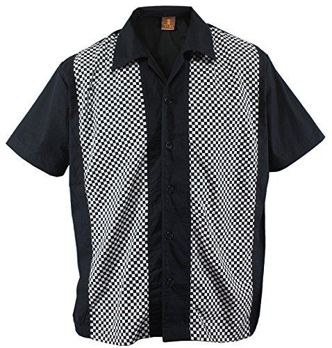 Herren Bowling Shirt Hemd Karo Check Ska Rockabilly kariert, Schwarz (L/Large)