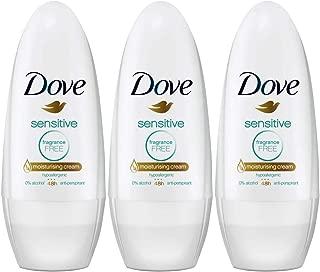 Dove Sensitive Antiperspirant Deodorant Roll-On, Fragrance-Free, 1.7 Ounce / 50 Ml (Pack of 3)
