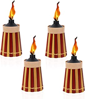 Bamboo - 4 Pack - Metal Oil Canister - 8in High, 10oz. Capacity - Sturdy Table Torch by Kaya Collection
