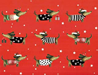Dachshunds Rolled Christmas Gift Wrap Paper 4 Sheets of 20 inches x 27.5 inches