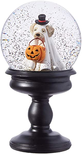 RAZ Imports 8 5 Ghost Dog Trick Or Treat Water Lantern Halloween Snow Globe On Base