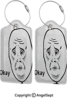Waterproof PU Leather Luggage Tags Options Soft and Comfortable No Scratching,Okay Guy Famous Fun Expression with Long Face Hipster Style Online Chat Print 2 PCS Black White,for Baggage/Suitcases