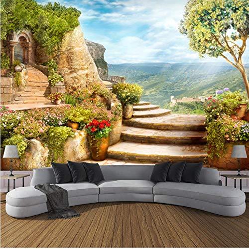Salón de belleza Papel tapiz fotográfico 3D personalizado Jardín europeo Naturaleza Paisaje Murales grandes Dormitorio Sala de estar Telón de fondo Mural de pared-3