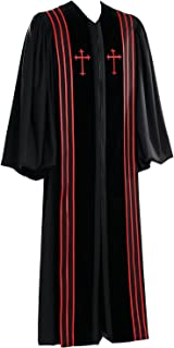 Black Bishop Pulpit Robe with Red Trim