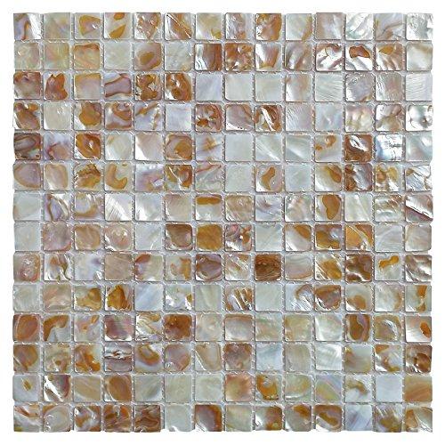 Art3d 6-Pack Natural Mother of Pearl Backsplash Tile for Kitchen, Bathroom Walls, Spa Tile, Pool Tile, 0.8'x0.8' Chip