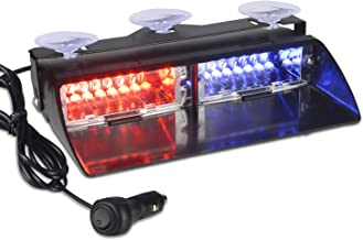 12V Law Enforcement Emergency Car Strobe Lights, Linkitom 16 LED Hazard Warning Beacon Lights for Vehicle Interior Roof/Dashboard/Visor/Front Windshield with Suction (Red&Blue)
