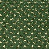 Stoff Meterware Baumwolle grün gold Reh Hirsch