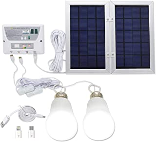 YINGHAO Upgraded Solar LED Lighting System & Phone Charger with 2 Imported LED Lights, 6W Solar Panel, 3.7 V / 8000 mah Lithium Battery, Charge Controller, USB Port with Cell Phone Chargers Included