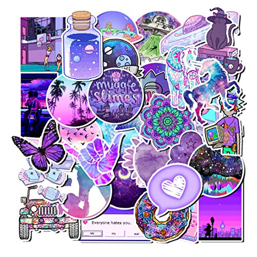 Sweetures Cute Purple Teen Girl Decal Stickers for Laptop and Water Bottles,Waterproof Durable Trendy Vinyl Laptop Decal Stickers Pack for Teens, Water Bottles, Computer, Travel Case (50pcs)