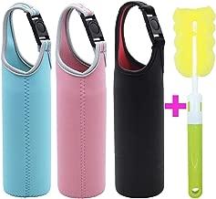Kvvdi 3 Pack 16 oz - 21 oz Neoprene Water Bottle Sleeve 16.9oz Portable Bottle Cooler Cover Holder Strap for Outdoor