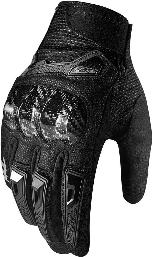 Black,X-Large MADBIKE Motorcycle Gloves for Men Women Carbon Fiber Hard Knuckle Touchscreen Fit Dirt Mountain Bike Motocross