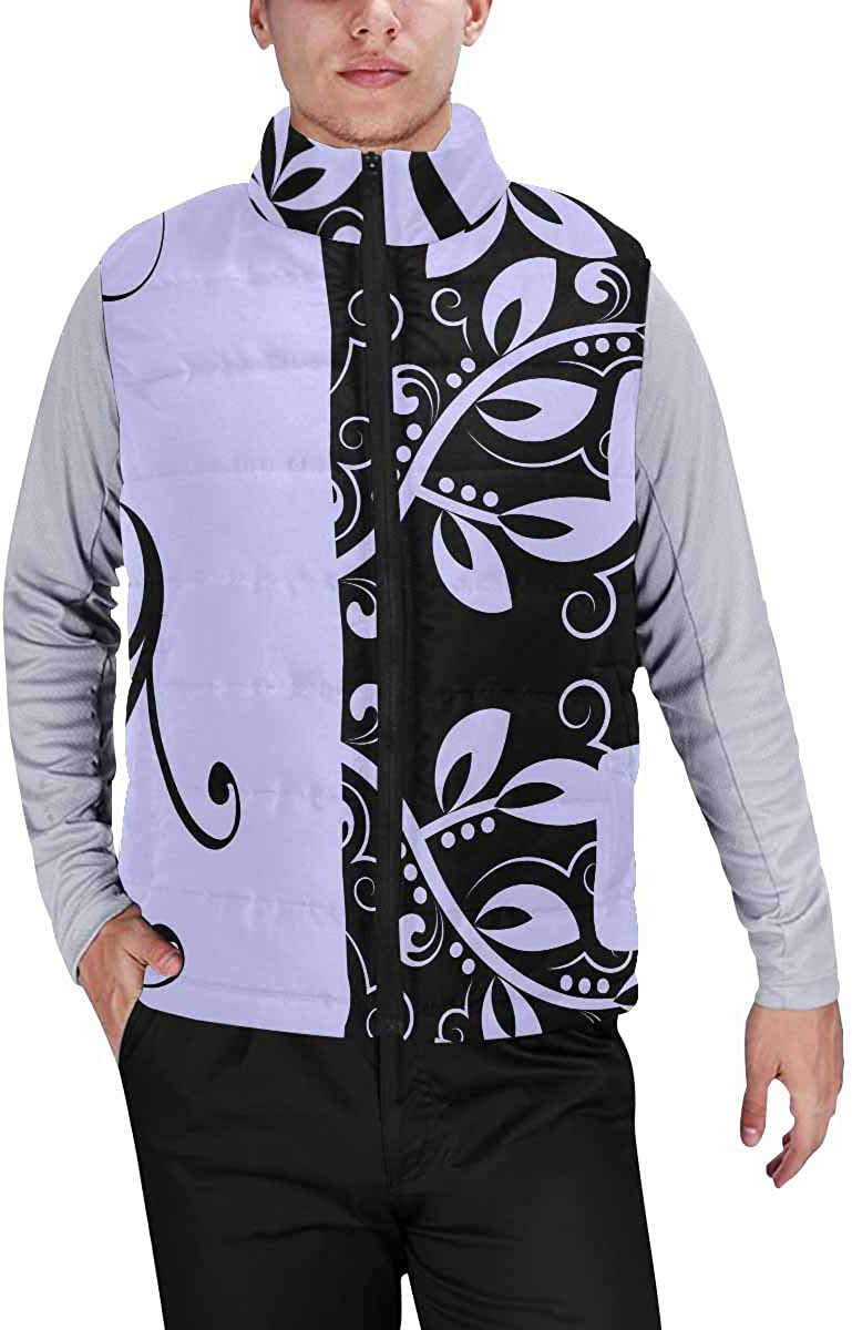 InterestPrint Warm Outdoor Sleeveless Stand Collar Vest for Men Flowers in Teacup, Cake and Tea Pot