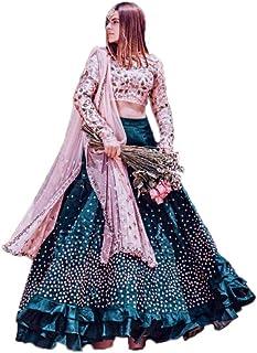86d3697591 RK International Women PInk Semi Stitched lehenga choli (Lehenga_Pink_Free_Size)