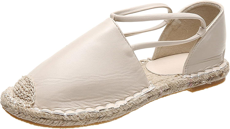 RealKing - Zapatos de cañamero de tejido grueso para mujer