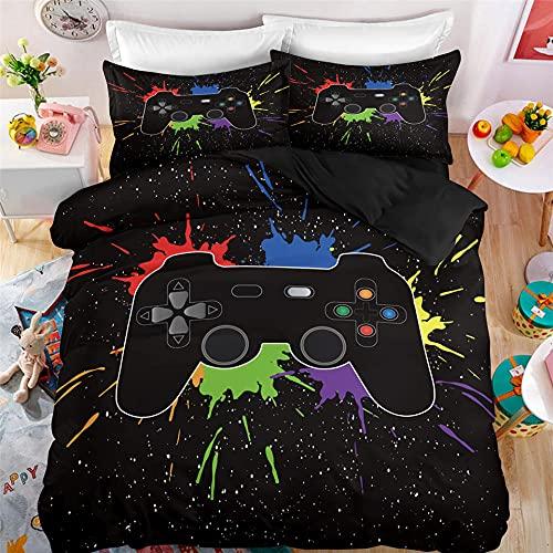 Ropa De Cama 220 X 240 Cm Gamepad Playstation Ps4 Gamer con Funda Almohada Funda Nordica Doble Microfibra Suave Cómodo Double Duvet Set para Adultos Y Infantil