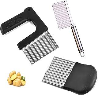 WUERQIE Lot de 3 plissés -Couteau de Tranches de Pomme de Terre,Coupe Frites Ondulé avec Lame en Acier Inoxydable,Couteau ...